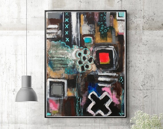 Structures contemporary wall art, modern abstract painting, instinctive art, symbols, original acrylic painting on canvas