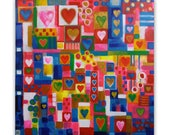 Patchwork Hearts bohemian, patchwork painting, abstract wall decor, emotions, love, original acrylic painting, FREE SHIPPING WORLDWIDE