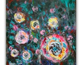 Abstract Roses floral wall decor, abstract flowers, original acrylic painting, FREE SHIPPING WORLDWIDE