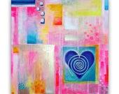 Love bohemian abstract wall decor, emotions, happiness, harmony, blue heart, original acrylic painting, FREE SHIPPING WORLDWIDE