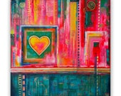 Lovely Abstract original acrylic painting, FREE SHIPPING WORLDWIDE