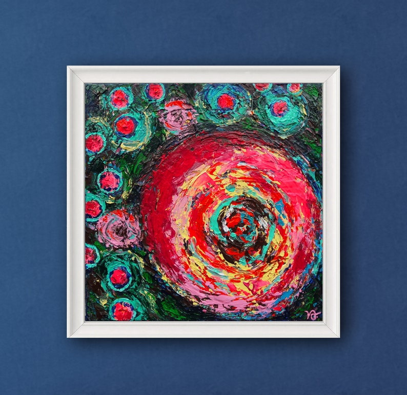 Summer Roses Pink and Blue abstract floral wall decor image 0