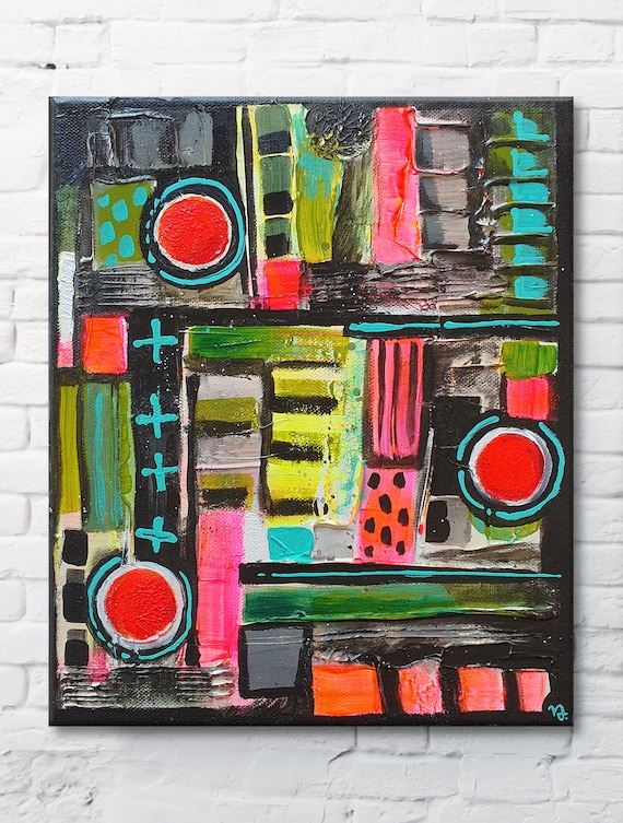 Abstract Icon No.01 modern, bohemian, multicolored, home decor painting, small size abstract, original acrylic structure painting on canvas