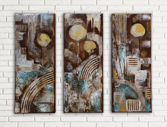 Golden Floral Abstract Set of 3 modern abstract, decorative, contemporary art, small size, original acrylic structure paintings on canvas