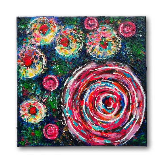 Abstract Summer Flowers romantic style, abstract floral wall decor, knife painting, small size, original acrylic painting on 3D canvas