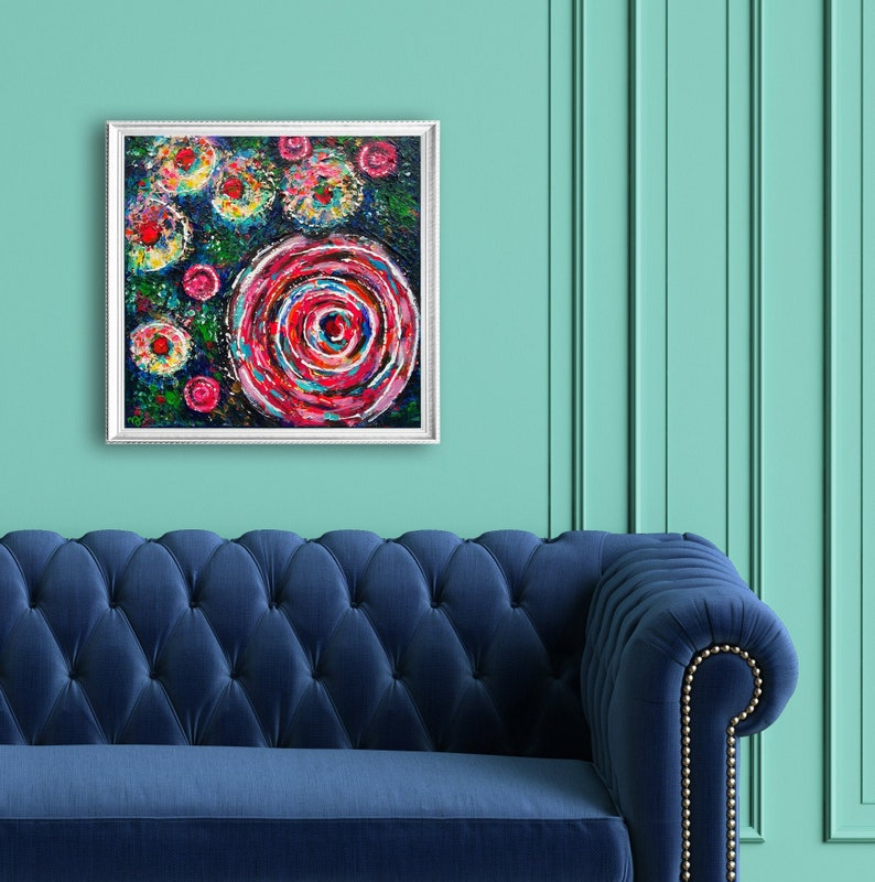 Abstract Summer Flowers romantic floral wall decor pink image 0