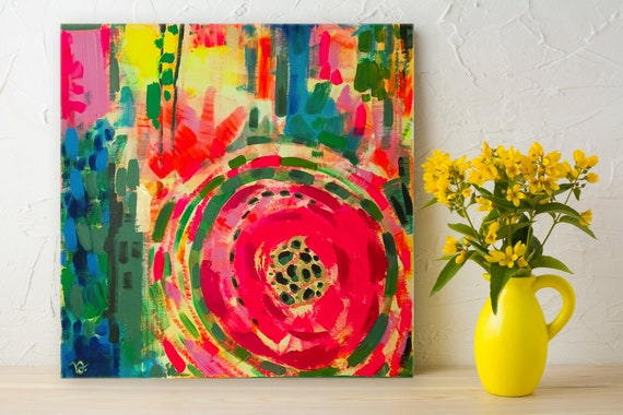 Abstract Flowers Red and Yellow abstract floral wall decor, modern floral art, multicolored, vibrant, original acrylic painting on canvas