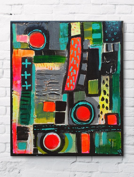 Abstract Icon No.03 modern, bohemian, multicolored, home decor painting, small size abstract, original acrylic structure painting on canvas