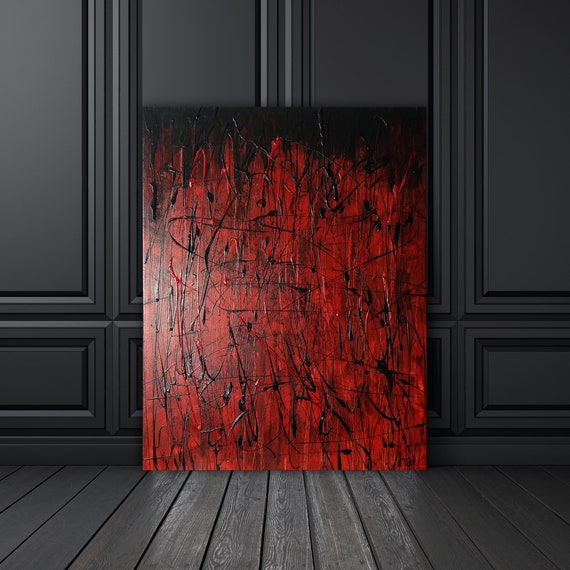 Kamikaze Red modern abstract wall art, contemporary art, abstract expressionism, drip painting, original acyrlic and oil painting on canvas