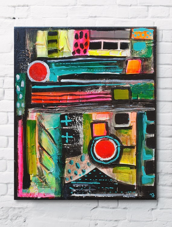 Abstract Icon No.02 modern, bohemian, multicolored, home decor painting, small size abstract, original acrylic structure painting on canvas