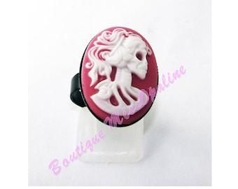 Skeleton woman resin rose Adjustable ring