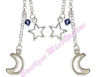 Star and moon dangling earrings