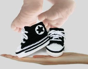 Chaussures pour bébé fille et bébé garçon, chaussures nouveau-né noir, tenue de maison à venir de bébé garçon, à venir la tenue de bébé fille en crochet noir