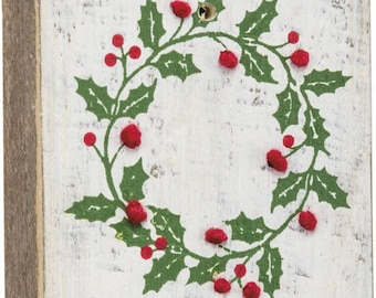 Holly Jolly Stitched Block/Magnet