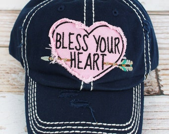 Bless Your Heart Vintage Trucker Hat - Navy 94537ca5fd1d