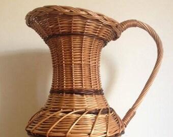 Authentic large French large wicker karafe - handmade