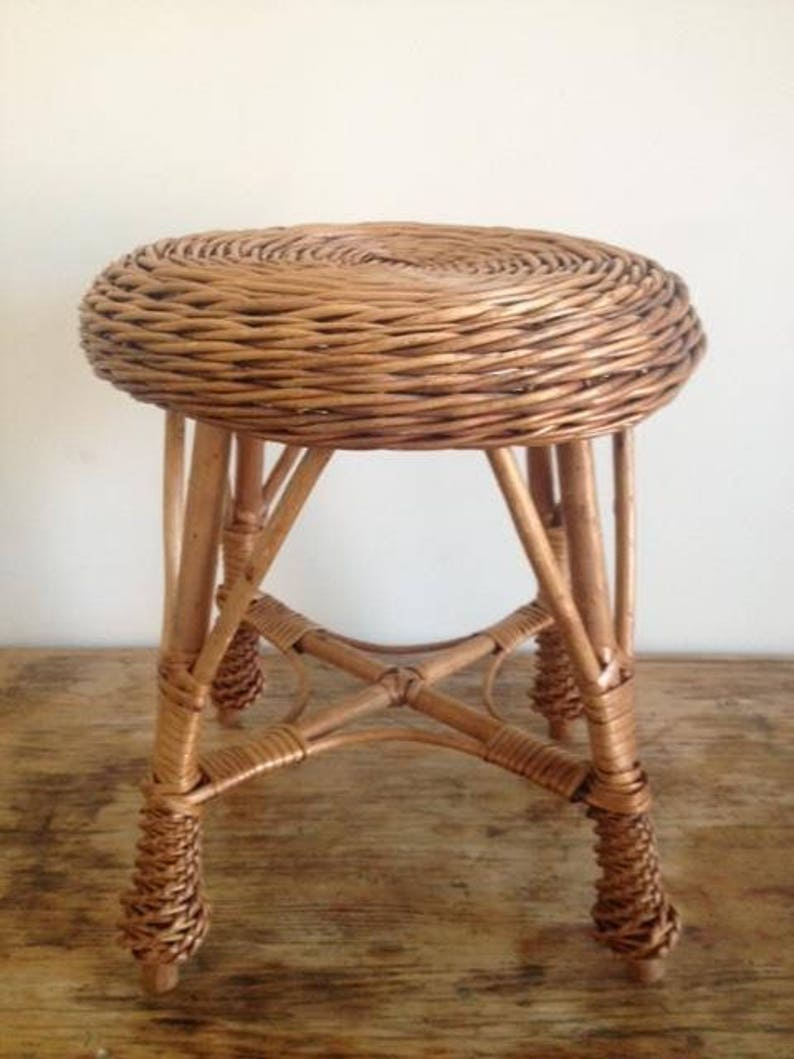 Vintage Wicker Stool Benches & Stools