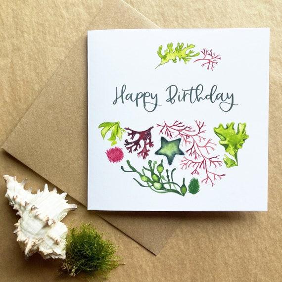 Happy Birthday Card - Seaweed and Starfish Illustration  - Premium Art Card Printed On Sustainable Materials