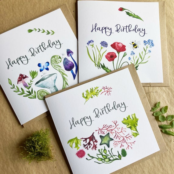 Happy Birthday Card Bundle - 6 Cards & 3 Designs  - Premium Art Card Printed On Sustainable Materials
