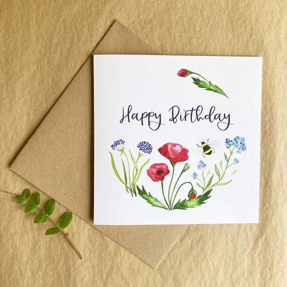 Happy Birthday Card - Wild Flower & Bee Illustration  - Premium Art Card Printed On Sustainable Materials