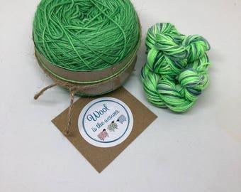 Hand Dyed 4 ply Superwash Merino -Emerald Green 8 and multi green mini skein