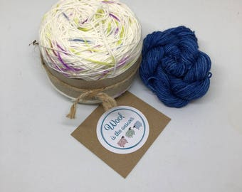 Hand Dyed 4 ply Superwash Merino -Berry drops with blue mini skein