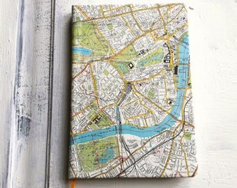 A5 London streets map travel journal, ruled notebook, Hardback , 200 pages