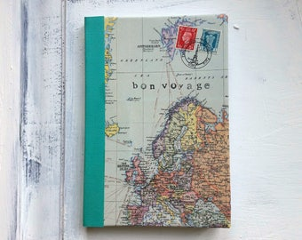 World map travel journal, ruled notebook, bon voyage journal, Europe, Green turquoise border