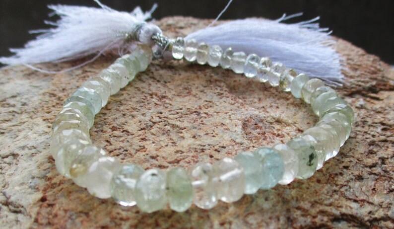 Handcut Genuine Aquamarine Rondelle Shape Faceted Beads Strand for making Jewelry Destash Gemstones Beads. Gemstone Beads,100/% Natural