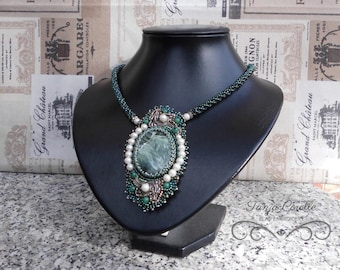 Seraphinite Necklace ''Princess Fiona'' Bead Embroidery Gemstone Green Necklace Jewelry Unique Gift For Her Anniversary Gift