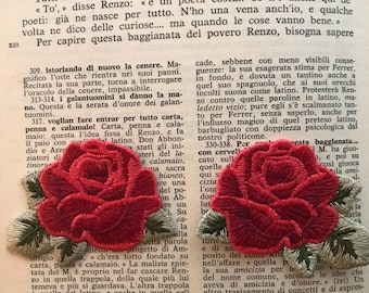 Mirrored Pair of Red Rose Emboidery Patches