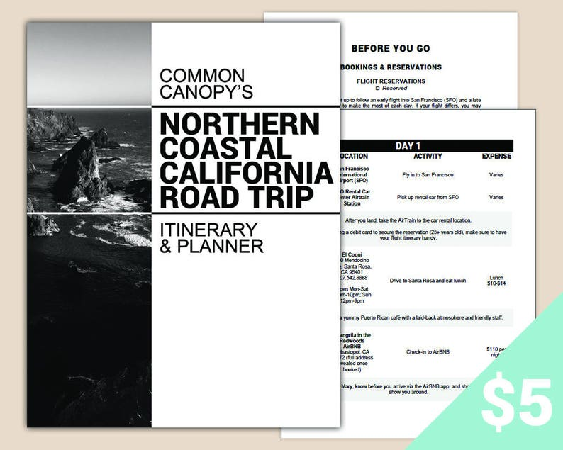 Northern Coastal California Highway 1 Road Trip Itinerary & Planner