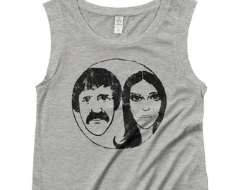 4b32358c The Beat Goes On Women's Capped Cap Sleeve T Shirt, Sonny and Cher Comedy  Vintage Soft Premium Ringspun Cotton Retro 1970s Worn Graphic Tees
