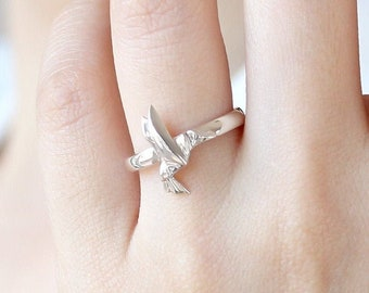 925 Sterling Silver Origami Ratatouille Ring Jewelry Tiny Personalized Mouse Silver Ring Size 6 7 8 Bridesmaid Friendship Birthday Gift