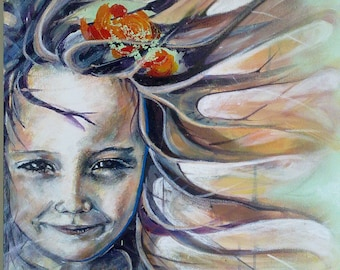 Wind in my hair - acrylics, spray paint, oil pastels, pencils on canvass