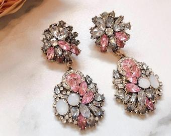 Pink & Gold Jewel Earrings    Statement Earrings    Ladies Rhinestone Earrings