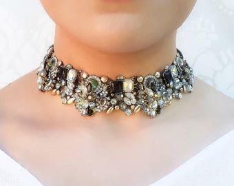Black & Gold Rhinestone Choker Necklace    Ladies Fancy Statement Choker    Womens Jewellery