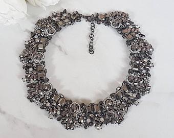 Graphite Embellished Statement Necklace || Statement Necklace