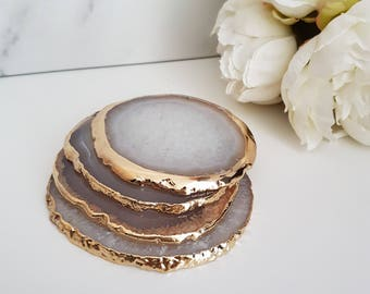 Natural White Agate Crystal Coasters with Gold Glided Edge || Homeware & Gifts