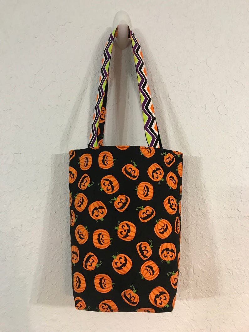 Halloween Trick or Treat Bag Pumpkins and Chevron image 0
