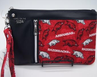 Razorbacks Zippy Clutch / Pig Sooie / Wristlet Purse / Clutch Purse / Travel Purse / Large Wallet / Hogs Purse / Arkansas