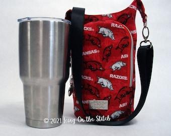 H2O 2 Go Sling / Water Bottle Bag / Drink Holder / Bottle Sling / Travel Bottle Holder / Crossbody Bag / Razorbacks / Hogs