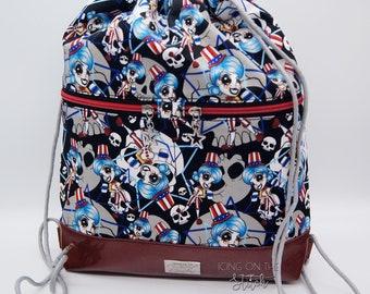 Horror  Backpack / Halloween Bag / Spaulding / Drawstring Backpack / Movie Slashers Bag / Designer Bag / Begonia Backpack