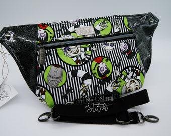 Beetle Bug Waist Pack / Stripes / Recently Deceased / Lydia / Beetlejuice / Bum Bag / Waist Bag