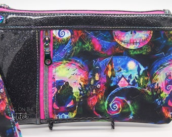 Jack Sally Zippy Clutch / NightmareBefore Christmas Inspired / Wristlet Purse / Travel Purse / Halloween Town / This is Halloween