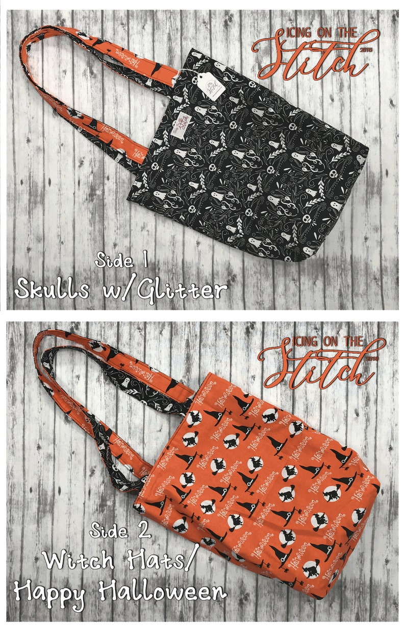Halloween Trick or Treat Bag / Halloween Tote / Reversible image 0