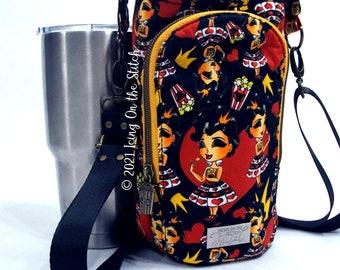 H2O 2 Go Sling / Water Bottle Bag / Drink Holder / Bottle Sling / Travel Bottle Holder / Crossbody Bag / Queen of Hearts