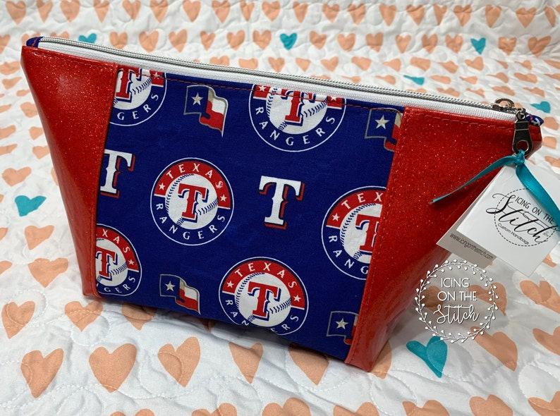 Texas Rangers Red Glitter Peek A Boo Makeup Bag / Red Glitter image 0