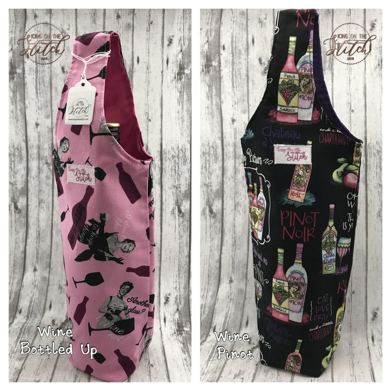 Wine Bottle Gift Bag / Wine Tote / Water Bottle Tote / Wine image 0