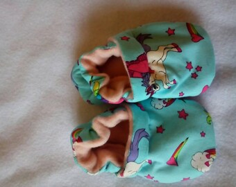 Baby pram shoes, 6 to 9 months old, unicorns